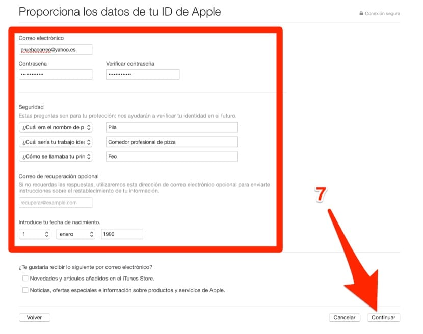Formulario de iTunes