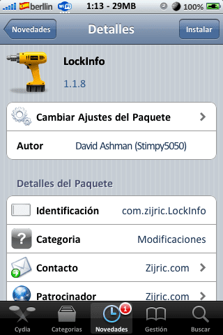 LockInfo 1.1.8 Actualización Cydia