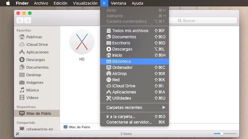 Mostrar la carpeta biblioteca en OS X