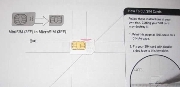 Colocar la SIM en la plantilla para recortarla
