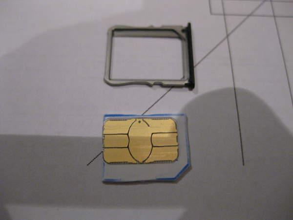 Tarjeta SIM convertida en micro SIM