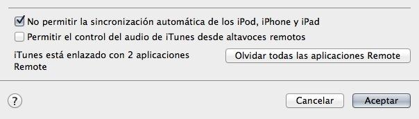 Evitar la sincronización automática del iPhone o iPad en iTunes