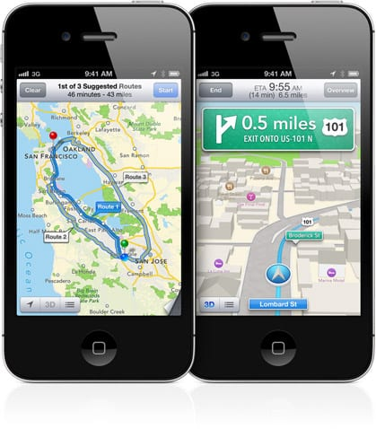 ios6mapsturnbyturn Unlock iOS6 Maps: navegación paso a paso en iPhone 4 (o 3GS) con iOS 6 (Cydia)