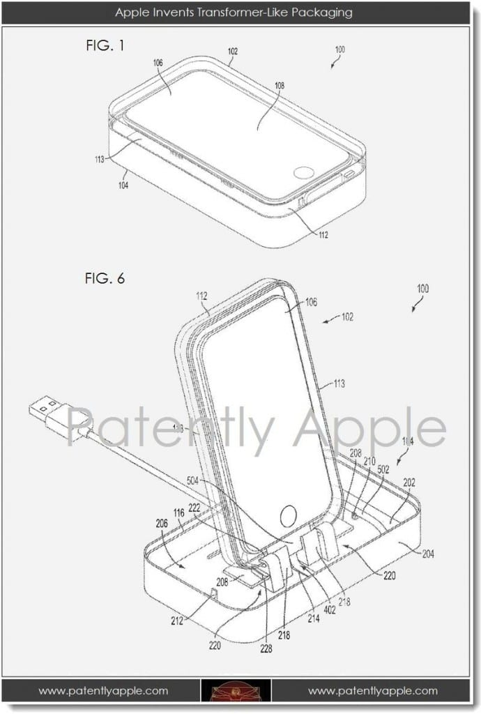 patente caja iphone 690x1024 Nueva patente de Apple: la caja del iPhone se transforma en un dock