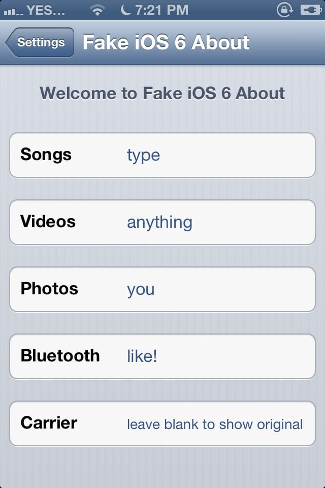 Fake iOS 6 About