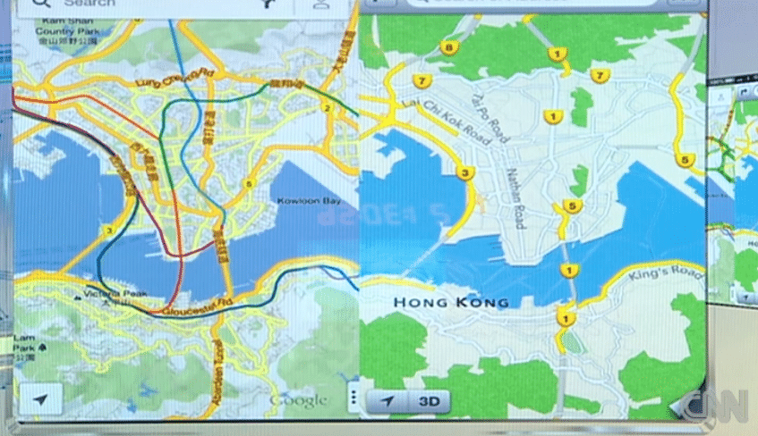 Screen Shot 2012 12 14 at 11.44.56 AM La CNN compara los mapas de Google con los de Apple