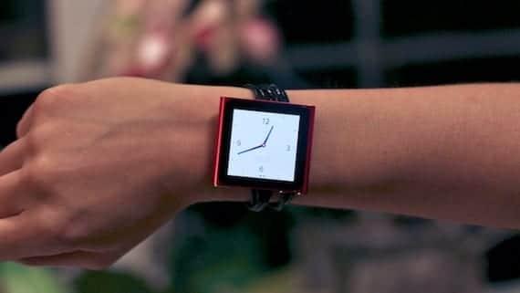 iPod Nano usado como reloj