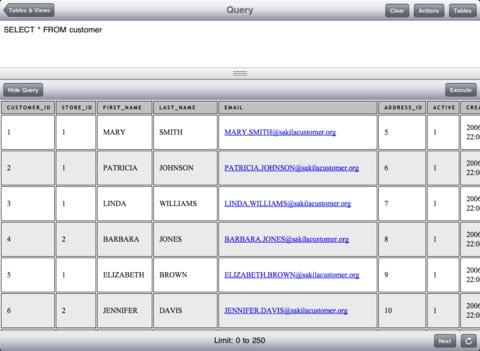 MySQL client iPad