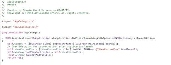 Programar juegos para iOS: Vista del archivo AppDelegate.m