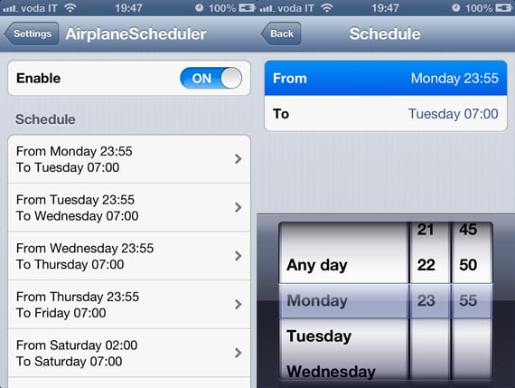 AirplaneScheduler AirplaneScheduler: programa el modo avión (Cydia)