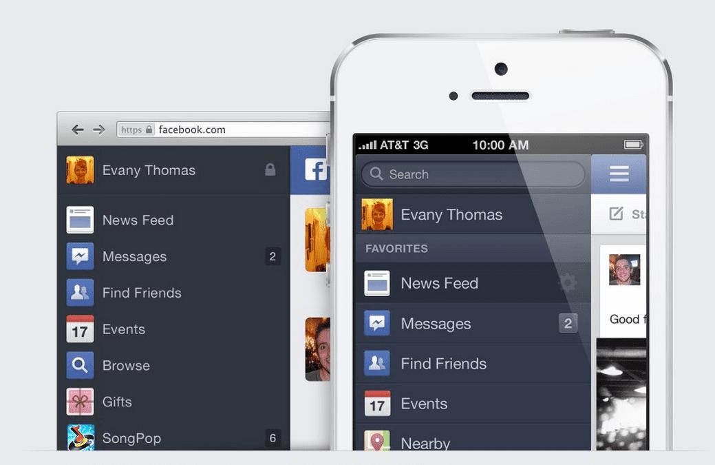 nuevo Facebook en iOS