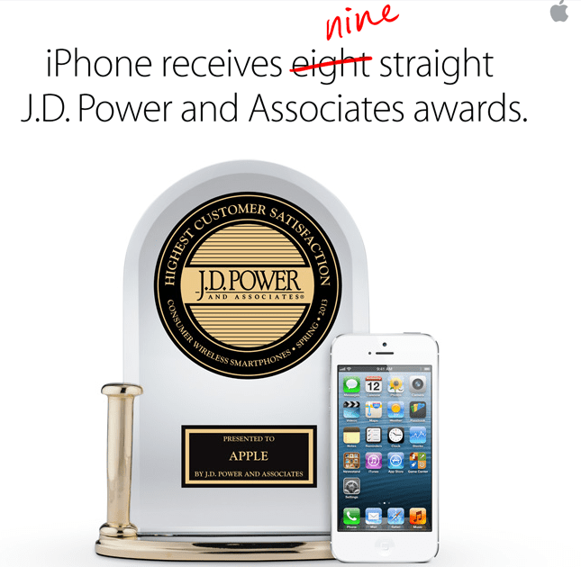 JD Power premio Apple