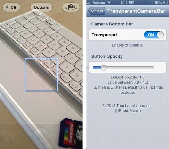 TransparentCameraBar