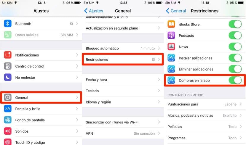 Pasos para desactivar las compras in-app