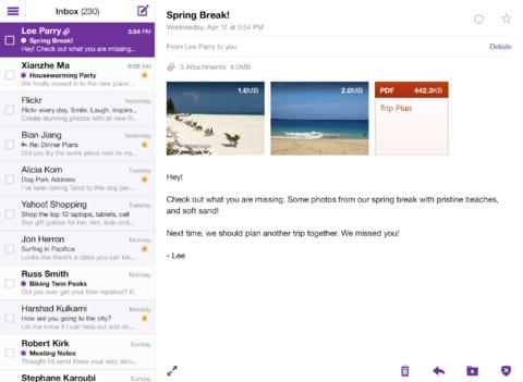 Yahoo! Mail para iPad