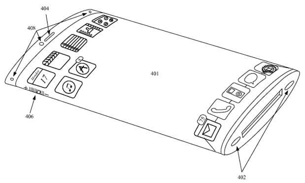 Patente de iPhone con pantalla envolvente