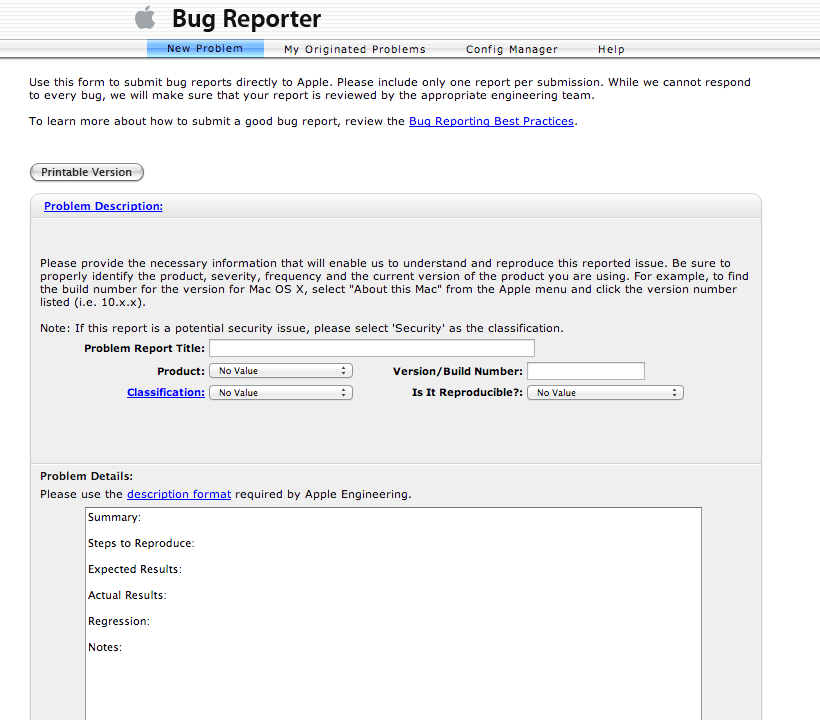 Apple Bug Reporter