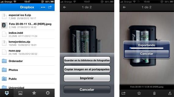 Descargar imágenes desde Dropbox