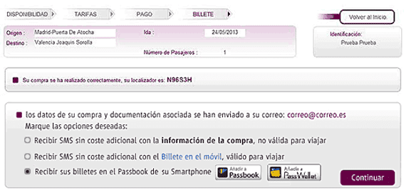 Integración de Renfe con Passbook