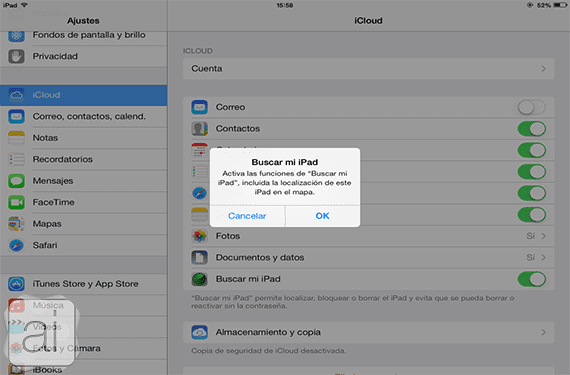find my ipad ajustes