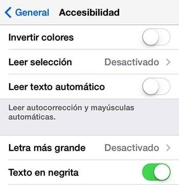 negrita en iOS 7
