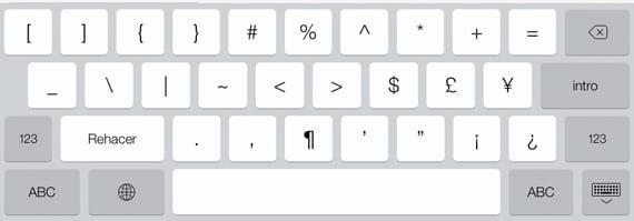 Teclado Símbolos iPad
