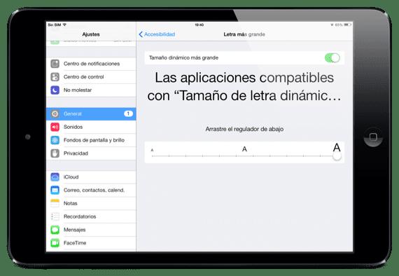 Tamaño de letras iOS 7
