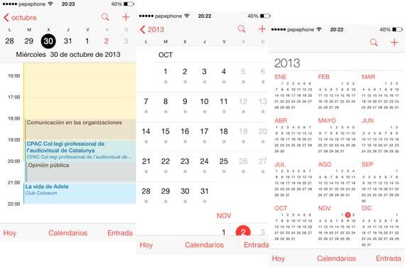 Otras vistas de Calendario app