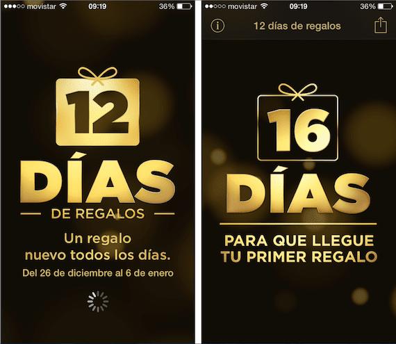 Aplicación de los 12 días de regalos