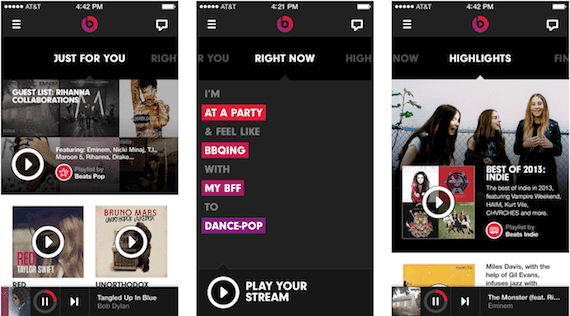Capturas de pantalla de Beats Music