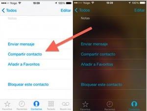 Compartir contactos iMessage