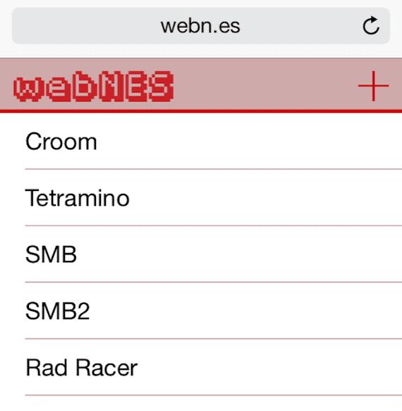 La interfaz de webNES