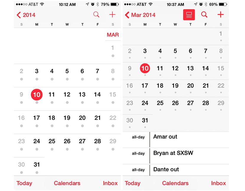 Calendario en iOS 7.1