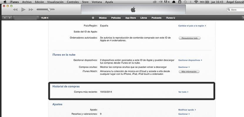 Historial de compras en iTunes