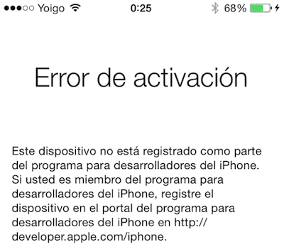 error al activar ios 8 beta