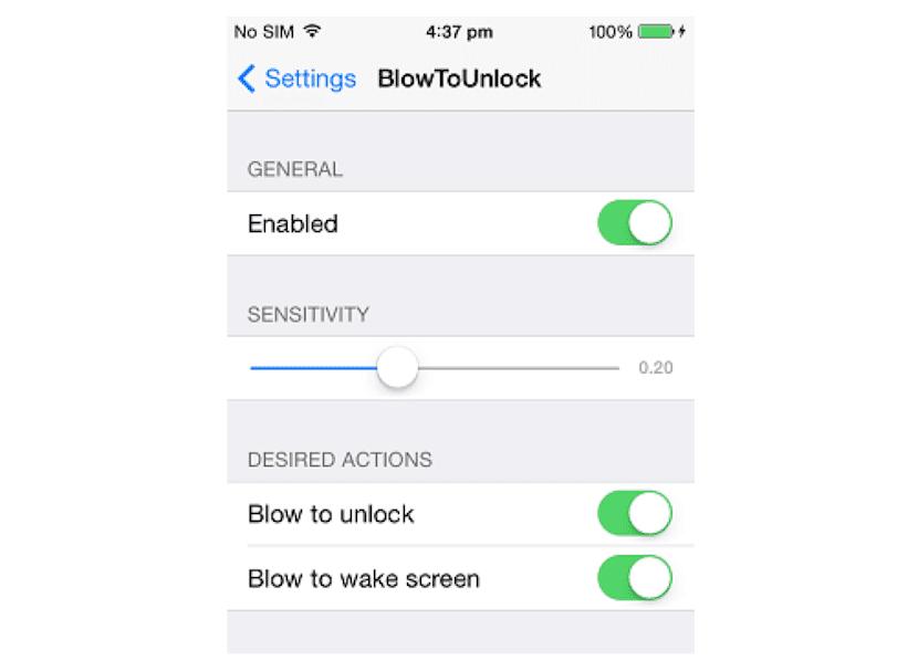Configuración de BlowToUnlock