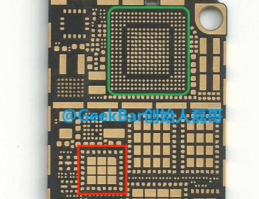 Hueco para el chip NFC en el iPhone 6