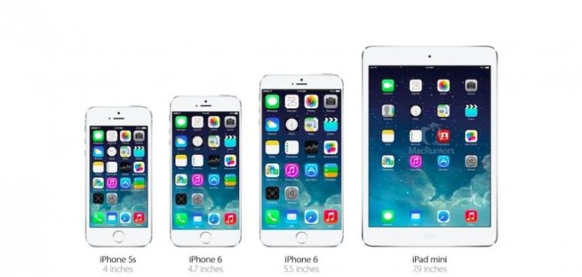 tamaños iphones y ipad mini