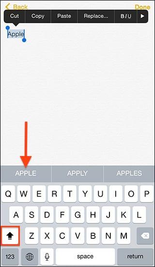 mayúsculas iOS 8