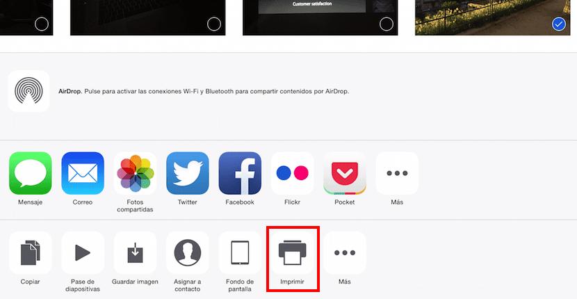 Captura de pantalla del menú Compartir