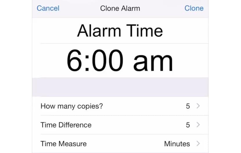 clone alarm interfaz