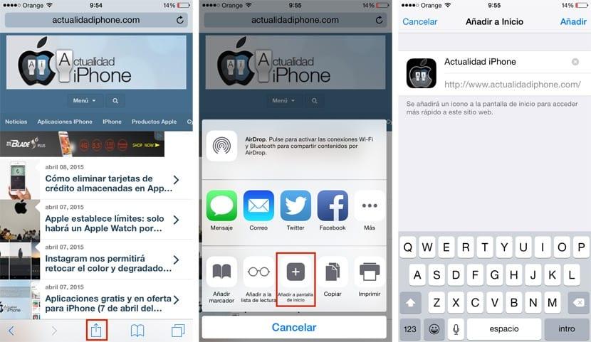 Crear acceso directo a web en iPhone