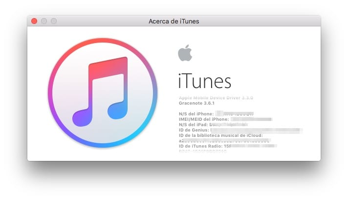 IMEI en iTunes