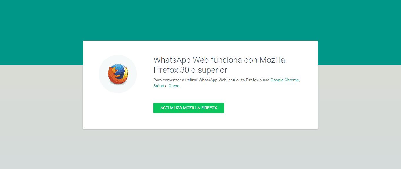 Whatsapp Web no carga en mi navegador. Solución