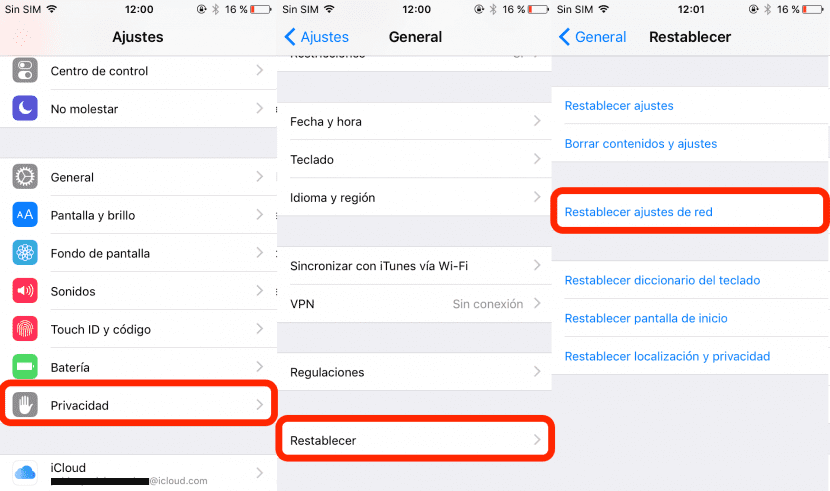 Restablecer ajustes de red en un iPhone que no conecta al WiFi