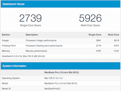 GeekBench MacBook Pro