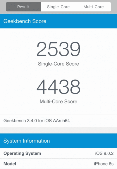 GeekBench iPhone 6s