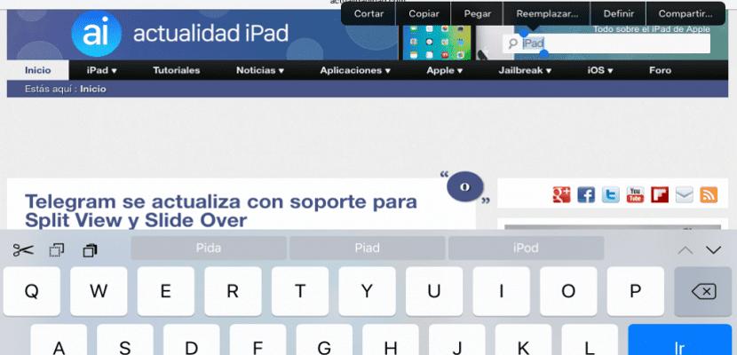 Teclado iPad iOS 9