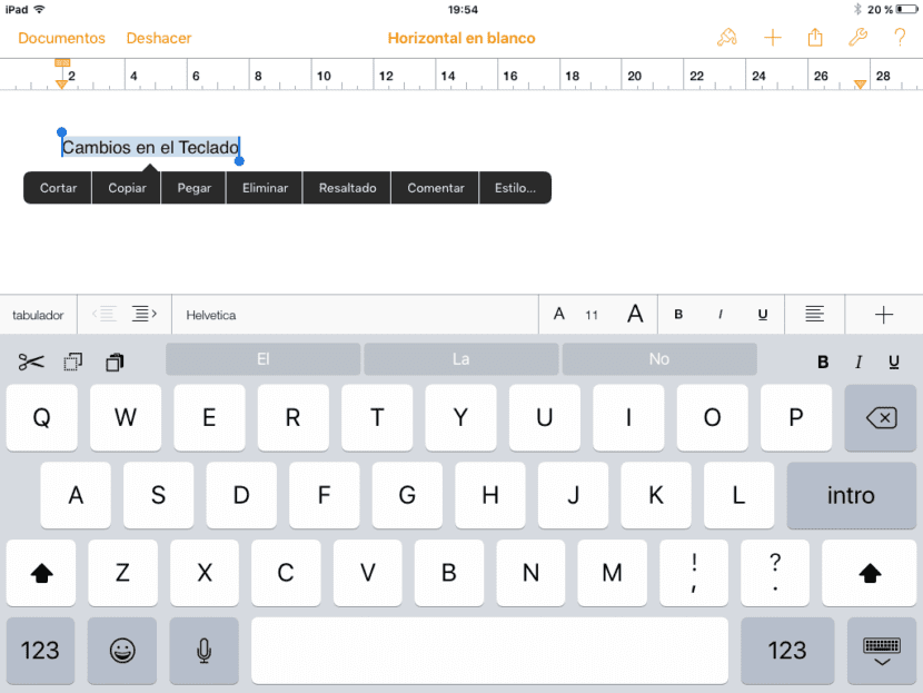 Teclado iPad iOS9 Pages
