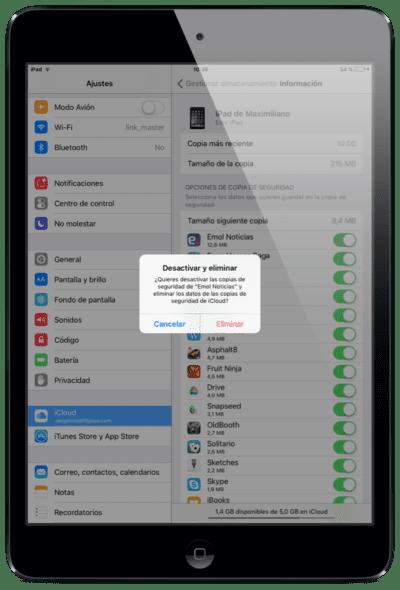 Eliminar aplicación icloud de copia de seguridad de datos